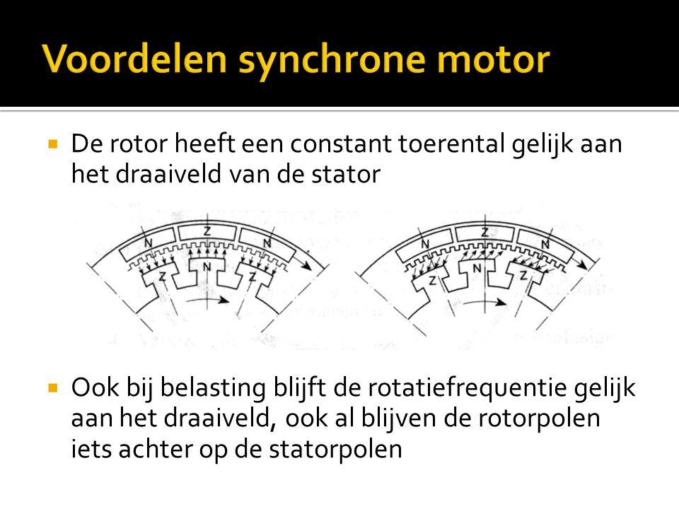  De rotor heeft een constant toerental gelijk aan het draaiveld van de stator  Ook bij belasting blijft de rotatiefrequentie gelijk aan het draaivel