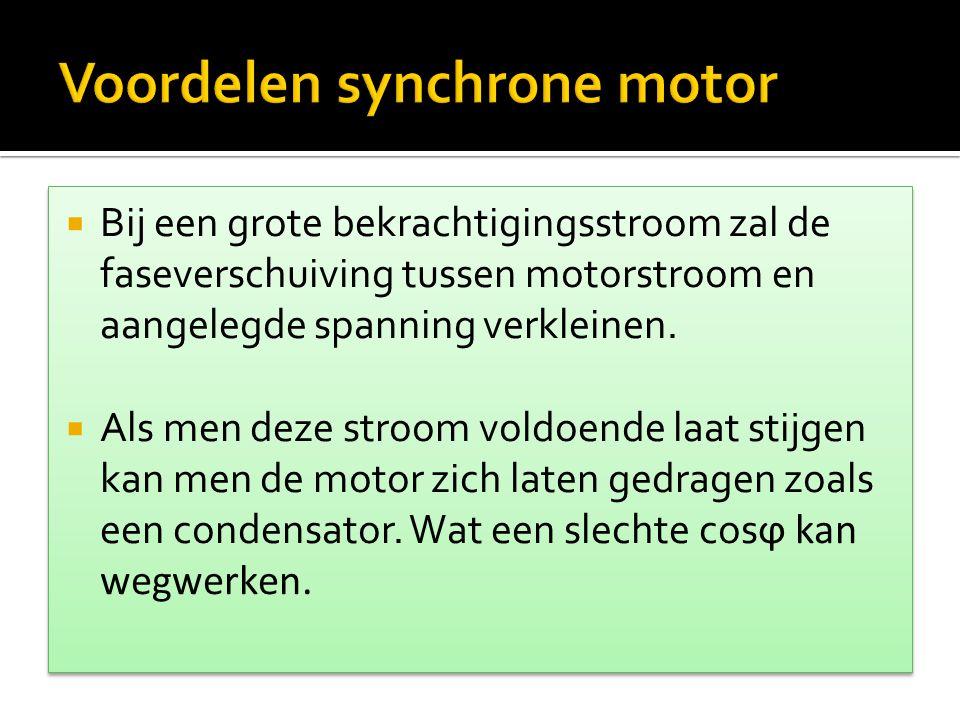  Een synchrone motor loopt niet vanzelf aan: hij vereist dus een aanloopmotor.