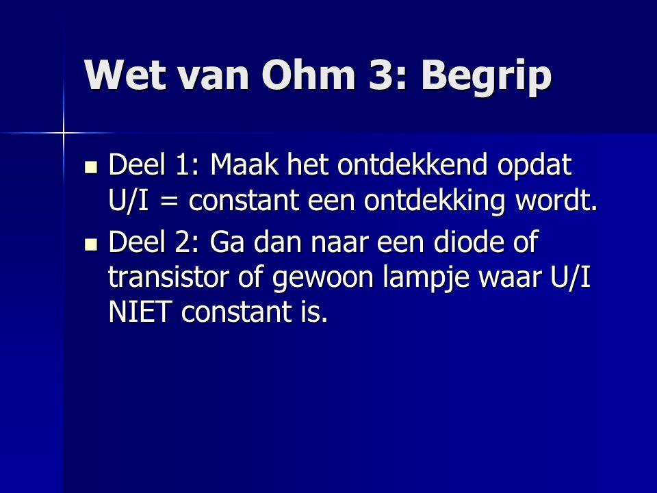 Wet van Ohm 3: Begrip  Deel 1: Maak het ontdekkend opdat U/I = constant een ontdekking wordt.  Deel 2: Ga dan naar een diode of transistor of gewoon