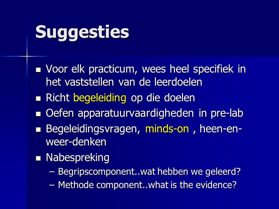 Suggesties  Voor elk practicum, wees heel specifiek in het vaststellen van de leerdoelen  Richt begeleiding op die doelen  Oefen apparatuurvaardigh
