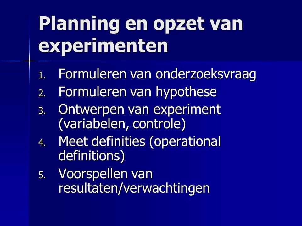 Planning en opzet van experimenten 1. Formuleren van onderzoeksvraag 2. Formuleren van hypothese 3. Ontwerpen van experiment (variabelen, controle) 4.
