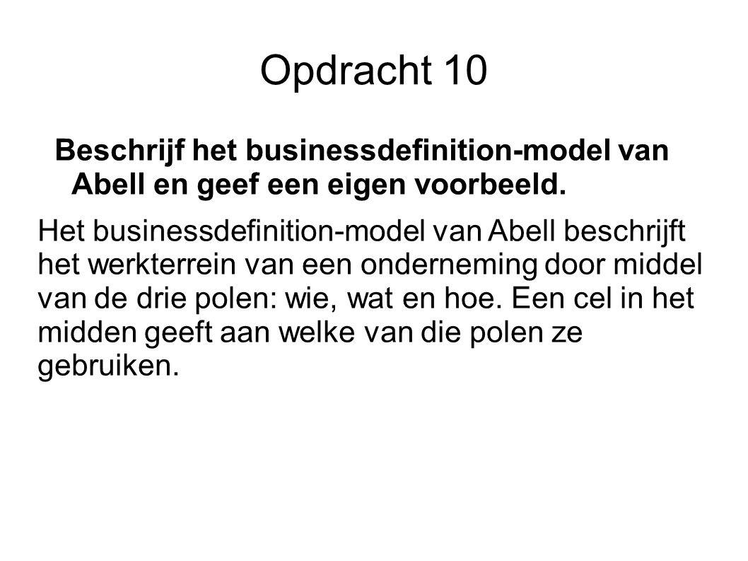 Opdracht 10 Beschrijf het businessdefinition-model van Abell en geef een eigen voorbeeld. Het businessdefinition-model van Abell beschrijft het werkte