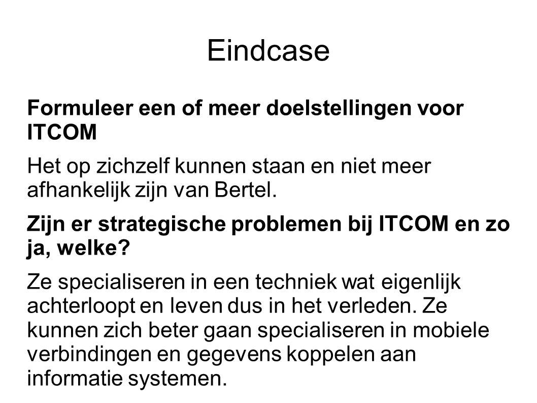 Eindcase Formuleer een of meer doelstellingen voor ITCOM Het op zichzelf kunnen staan en niet meer afhankelijk zijn van Bertel. Zijn er strategische p