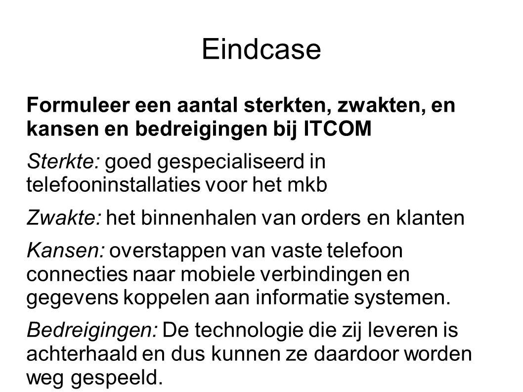Eindcase Formuleer een aantal sterkten, zwakten, en kansen en bedreigingen bij ITCOM Sterkte: goed gespecialiseerd in telefooninstallaties voor het mk