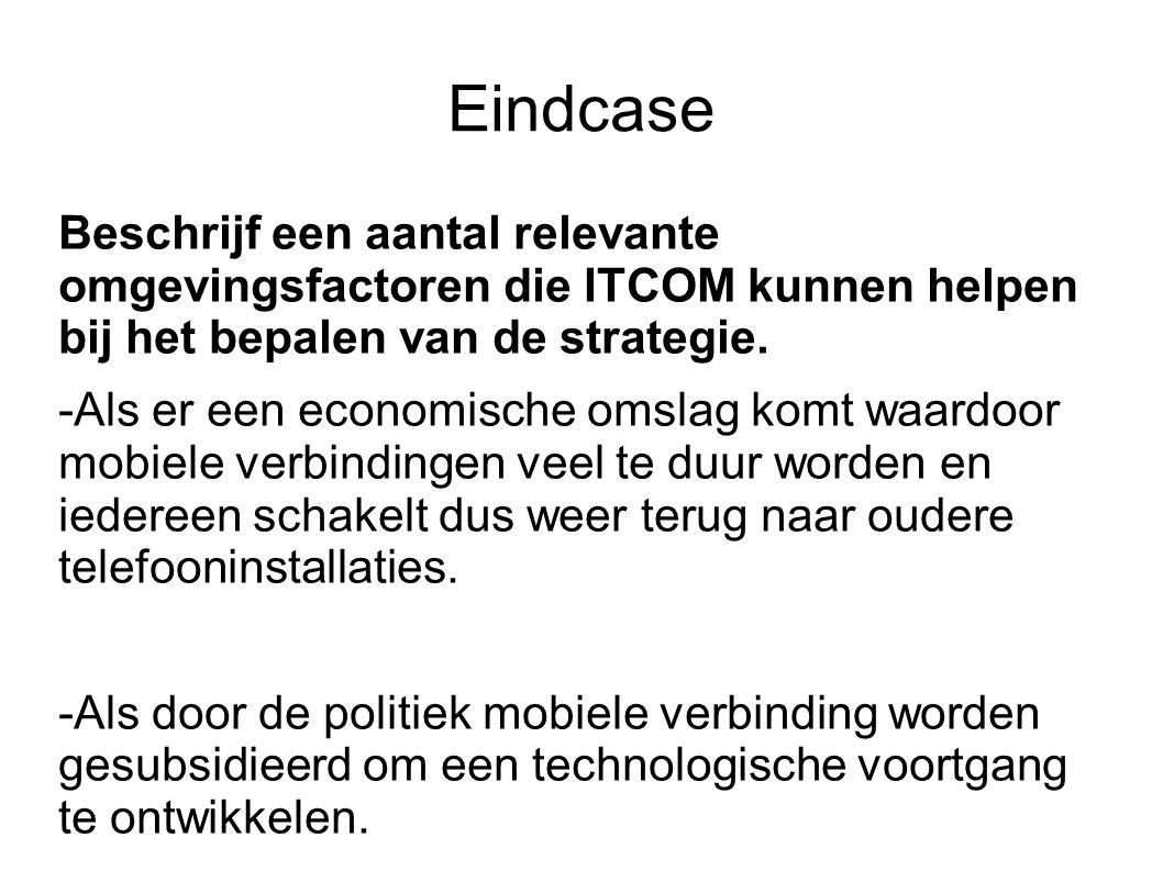 Eindcase Beschrijf een aantal relevante omgevingsfactoren die ITCOM kunnen helpen bij het bepalen van de strategie. -Als er een economische omslag kom