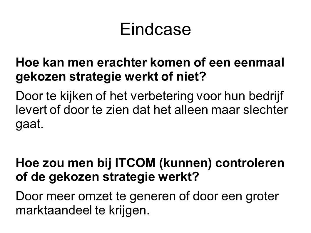 Eindcase Hoe kan men erachter komen of een eenmaal gekozen strategie werkt of niet? Door te kijken of het verbetering voor hun bedrijf levert of door