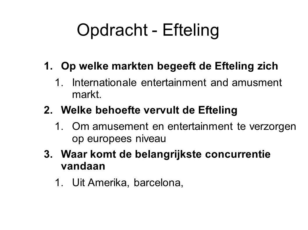 Opdracht - Efteling 1.Op welke markten begeeft de Efteling zich 1.Internationale entertainment and amusment markt. 2.Welke behoefte vervult de Eftelin
