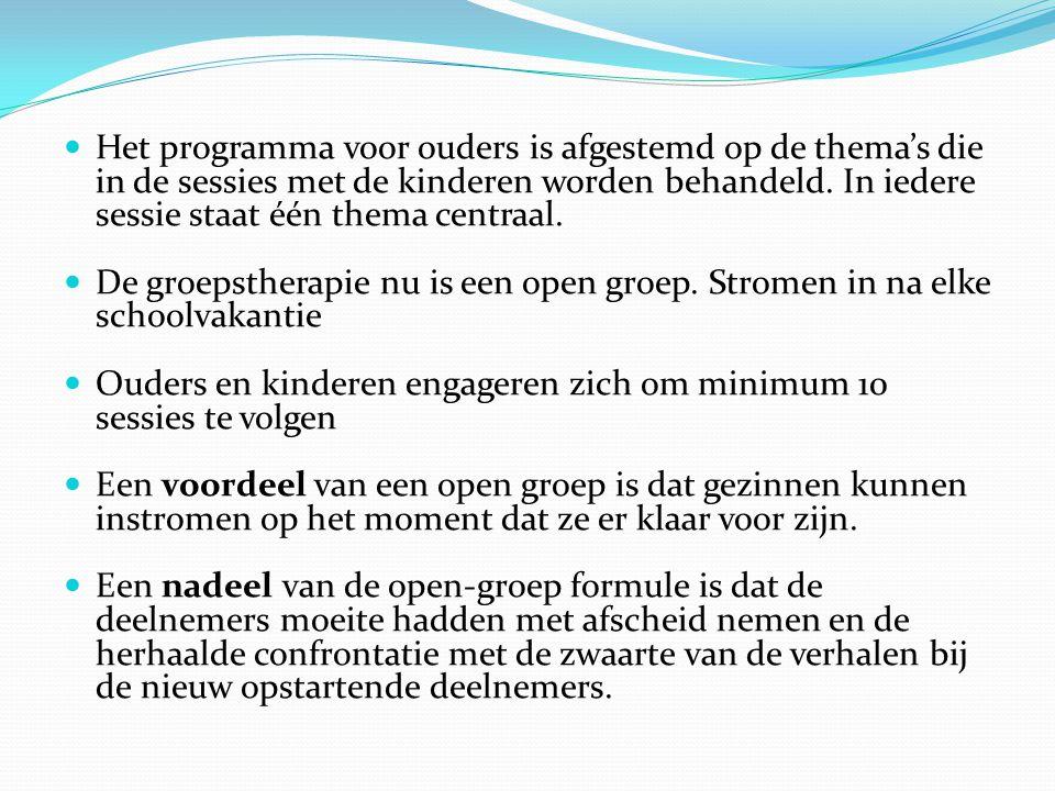  Het programma voor ouders is afgestemd op de thema's die in de sessies met de kinderen worden behandeld. In iedere sessie staat één thema centraal.
