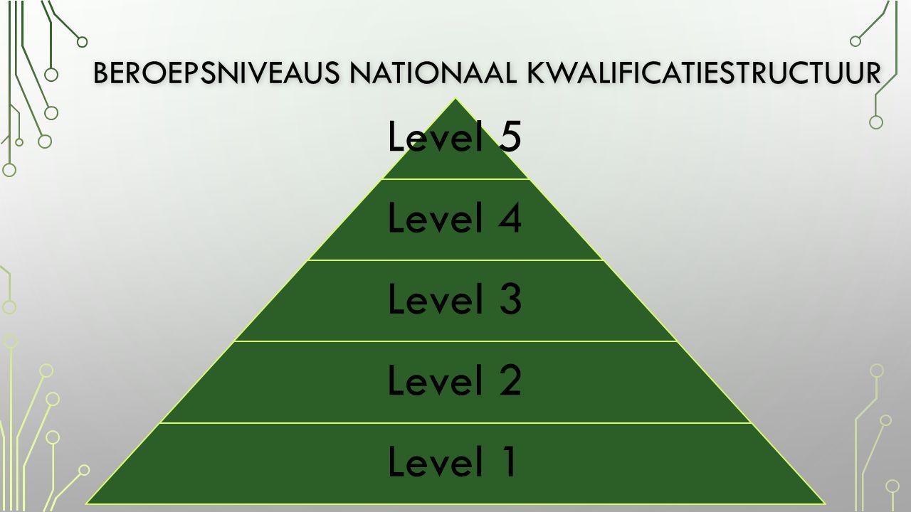 BEROEPSNIVEAUS NATIONAAL KWALIFICATIESTRUCTUUR Level 5 Level 4 Level 3 Level 2 Level 1