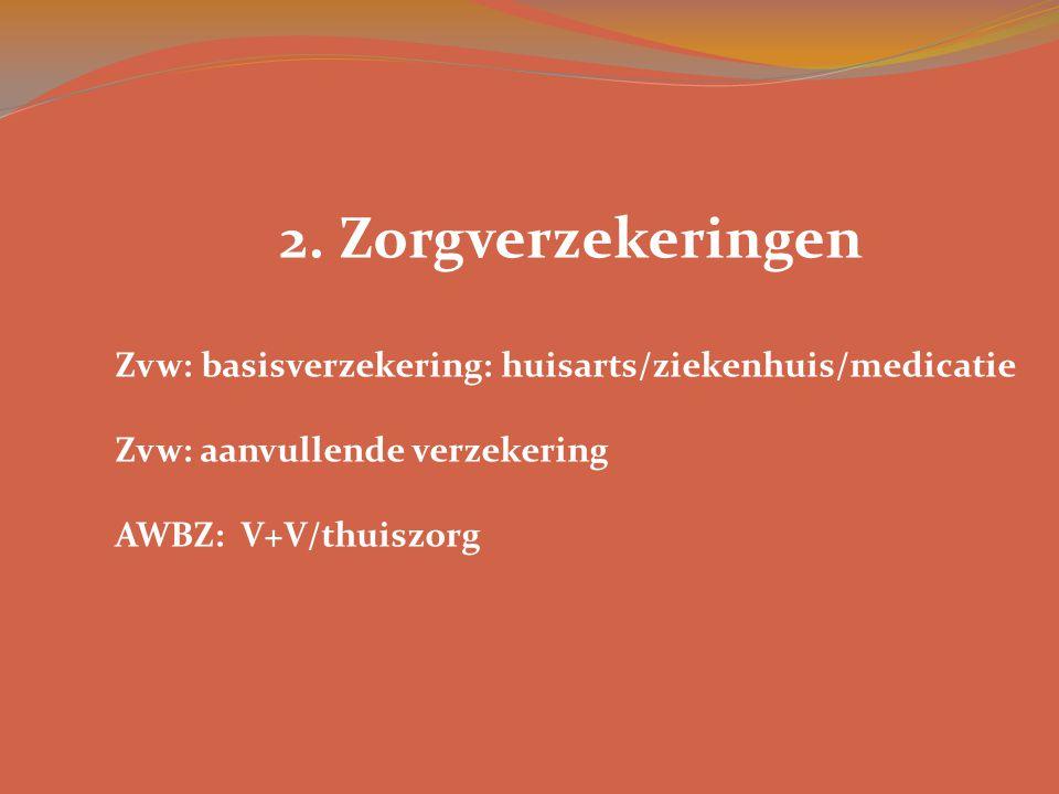 2. Zorgverzekeringen Zvw: basisverzekering: huisarts/ziekenhuis/medicatie Zvw: aanvullende verzekering AWBZ: V+V/thuiszorg
