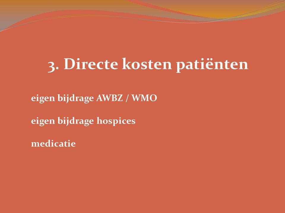3. Directe kosten patiënten eigen bijdrage AWBZ / WMO eigen bijdrage hospices medicatie