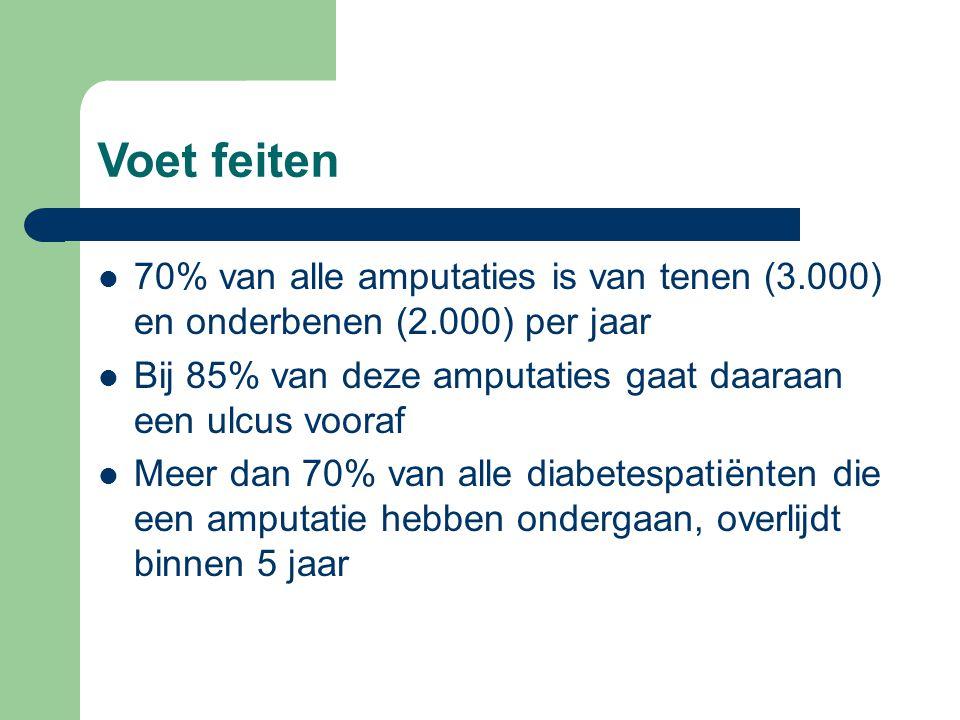 Voet feiten  70% van alle amputaties is van tenen (3.000) en onderbenen (2.000) per jaar  Bij 85% van deze amputaties gaat daaraan een ulcus vooraf  Meer dan 70% van alle diabetespatiënten die een amputatie hebben ondergaan, overlijdt binnen 5 jaar