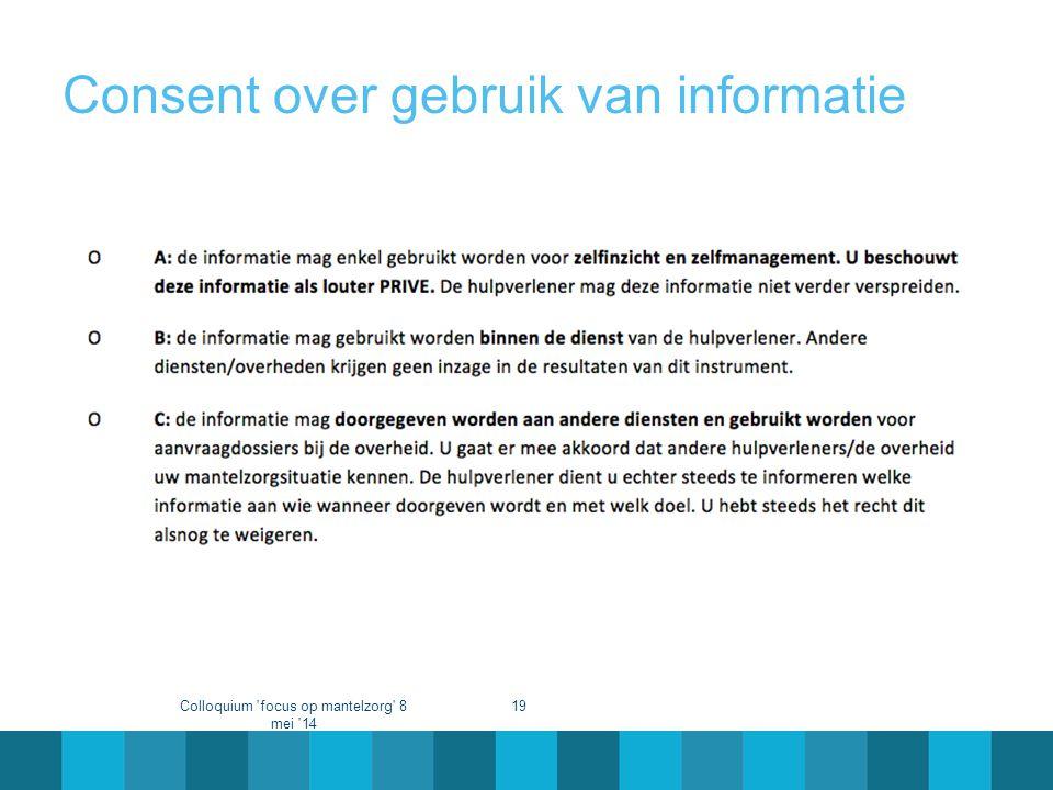 Consent over gebruik van informatie Colloquium 'focus op mantelzorg' 8 mei '14 19