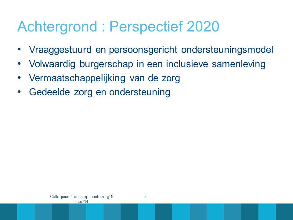 Achtergrond : Perspectief 2020 • Vraaggestuurd en persoonsgericht ondersteuningsmodel • Volwaardig burgerschap in een inclusieve samenleving • Vermaat