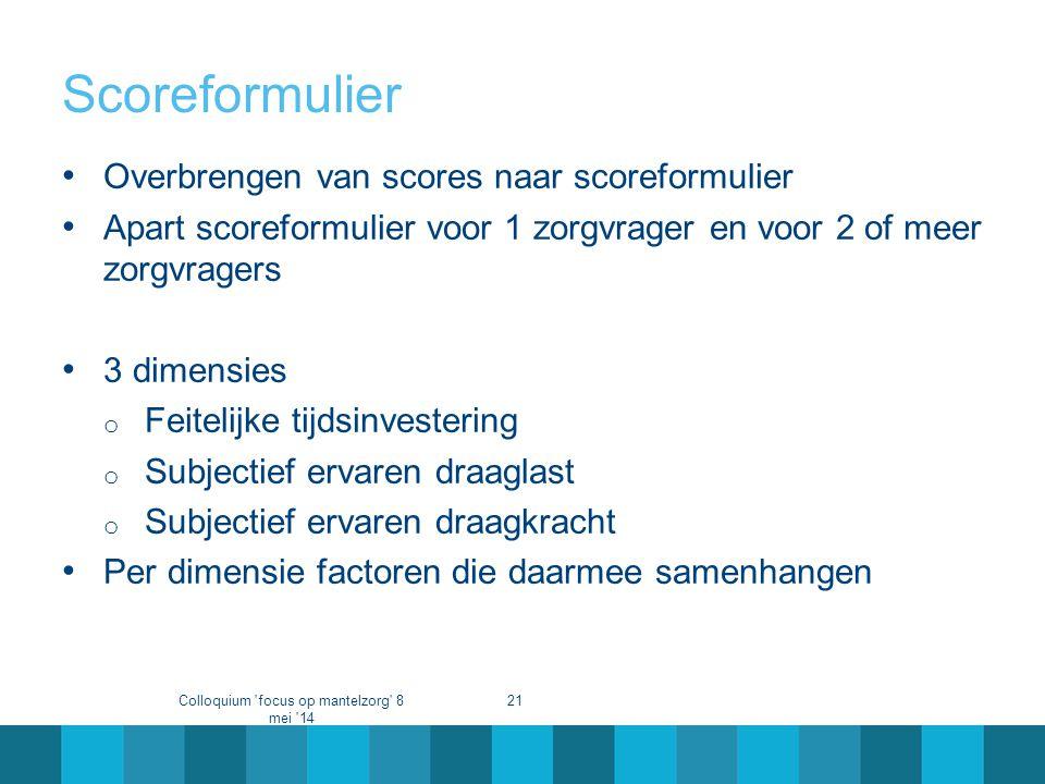 Scoreformulier • Overbrengen van scores naar scoreformulier • Apart scoreformulier voor 1 zorgvrager en voor 2 of meer zorgvragers • 3 dimensies o Fei