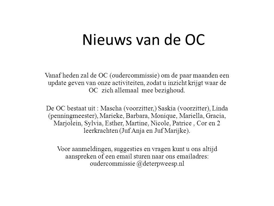 Nieuws van de OC Vanaf heden zal de OC (oudercommissie) om de paar maanden een update geven van onze activiteiten, zodat u inzicht krijgt waar de OC zich allemaal mee bezighoud.