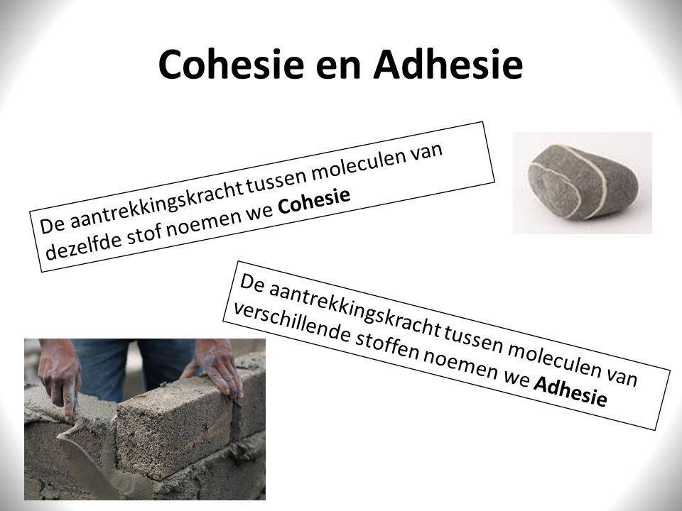 Cohesie en Adhesie De aantrekkingskracht tussen moleculen van dezelfde stof noemen we Cohesie De aantrekkingskracht tussen moleculen van verschillende