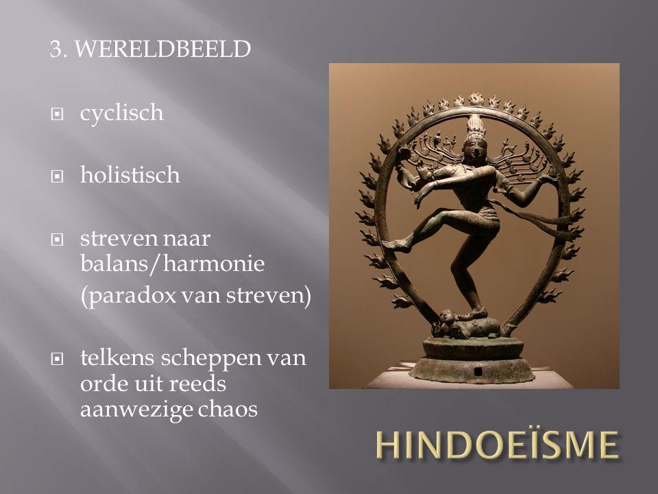 3. WERELDBEELD  cyclisch  holistisch  streven naar balans/harmonie (paradox van streven)  telkens scheppen van orde uit reeds aanwezige chaos