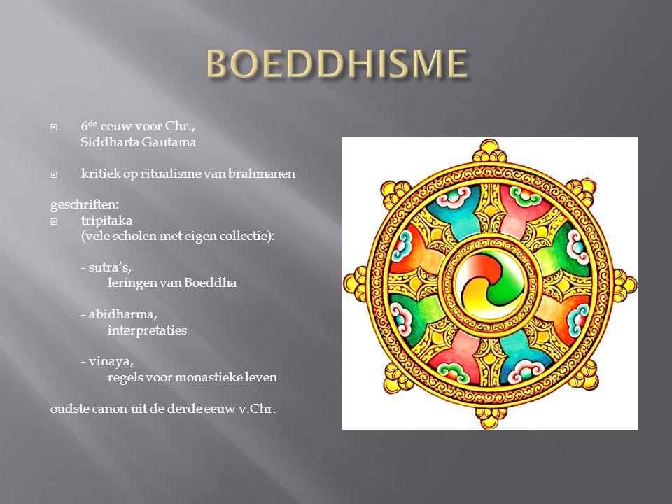  6 de eeuw voor Chr., Siddharta Gautama  kritiek op ritualisme van brahmanen geschriften:  tripitaka (vele scholen met eigen collectie): - sutra's,