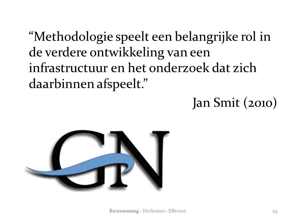 Methodologie speelt een belangrijke rol in de verdere ontwikkeling van een infrastructuur en het onderzoek dat zich daarbinnen afspeelt. Jan Smit (2010) Bestemming - Herkomst - Effecten29