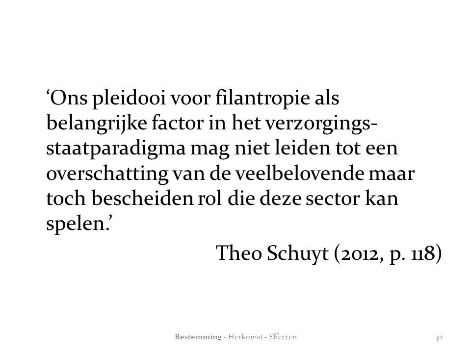 'Ons pleidooi voor filantropie als belangrijke factor in het verzorgings- staatparadigma mag niet leiden tot een overschatting van de veelbelovende maar toch bescheiden rol die deze sector kan spelen.' Theo Schuyt (2012, p.