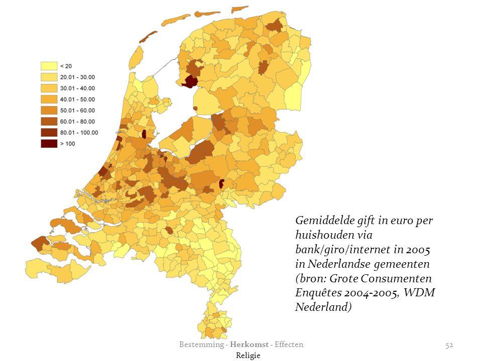 Gemiddelde gift in euro per huishouden via bank/giro/internet in 2005 in Nederlandse gemeenten (bron: Grote Consumenten Enquêtes 2004-2005, WDM Nederland) Bestemming - Herkomst - Effecten Religie 52