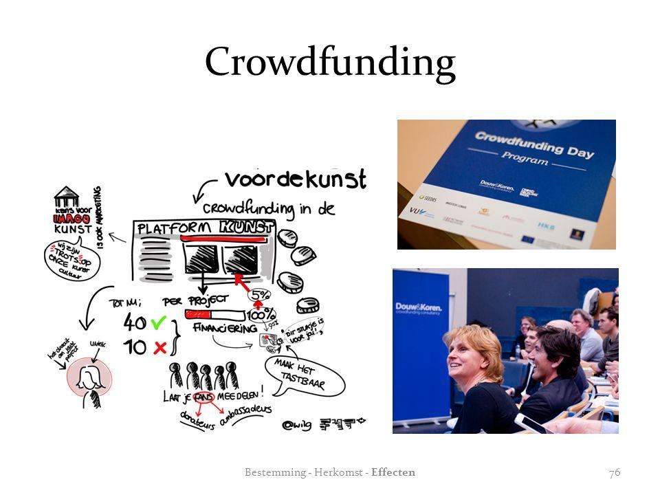 Crowdfunding Bestemming - Herkomst - Effecten76