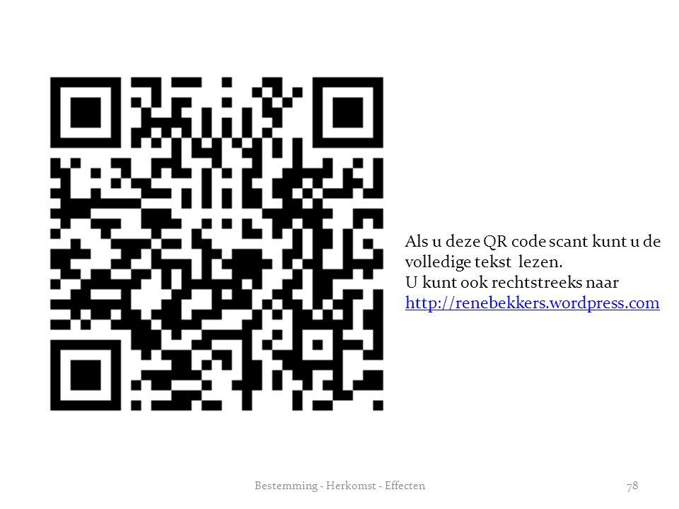Als u deze QR code scant kunt u de volledige tekst lezen. U kunt ook rechtstreeks naar http://renebekkers.wordpress.com 78Bestemming - Herkomst - Effe