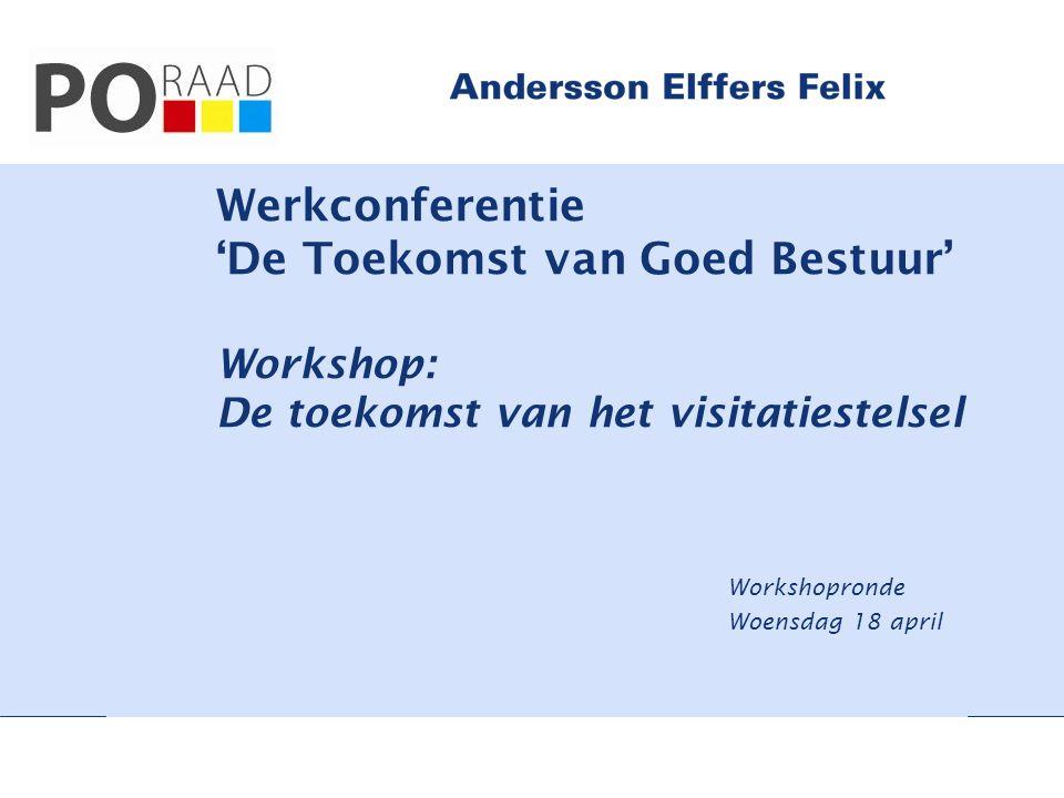 Werkconferentie 'De Toekomst van Goed Bestuur' Workshop: De toekomst van het visitatiestelsel Workshopronde Woensdag 18 april