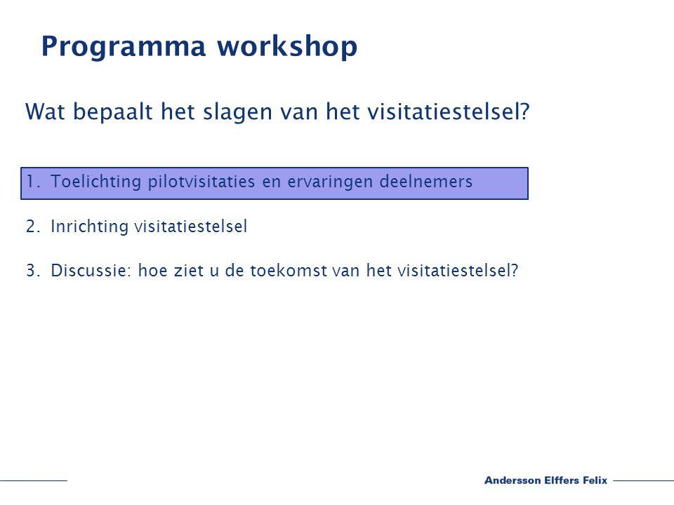 Programma workshop Wat bepaalt het slagen van het visitatiestelsel.