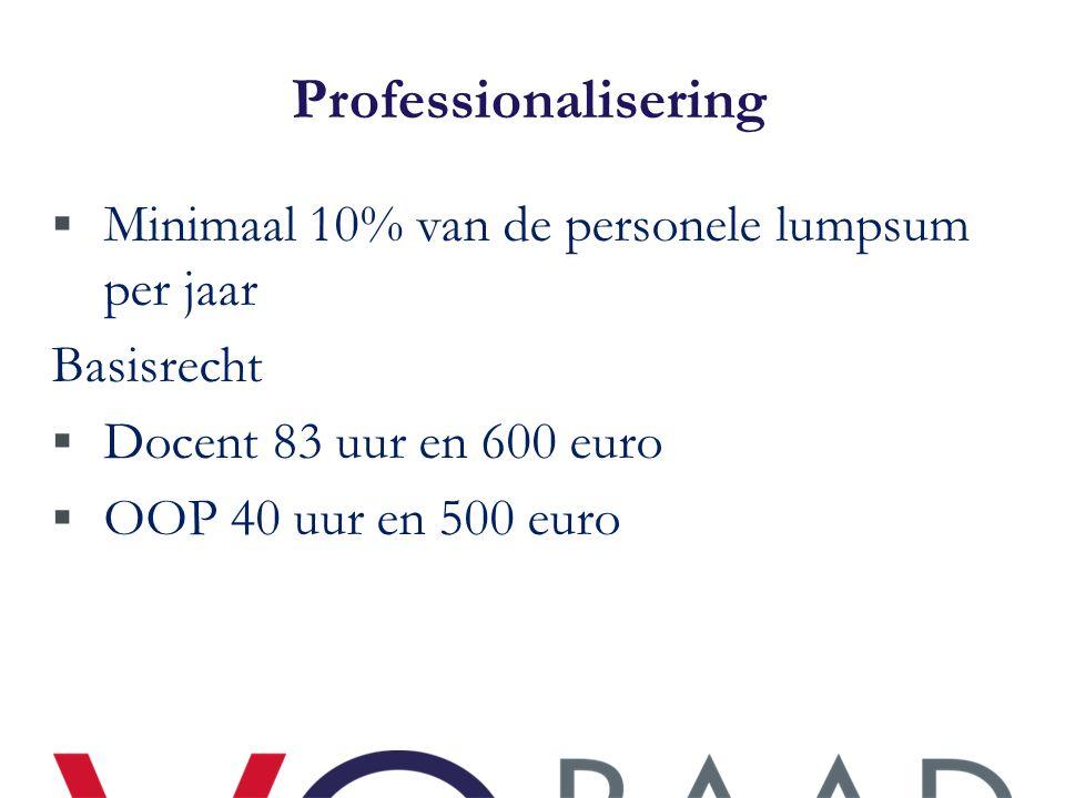 Professionalisering  Minimaal 10% van de personele lumpsum per jaar Basisrecht  Docent 83 uur en 600 euro  OOP 40 uur en 500 euro