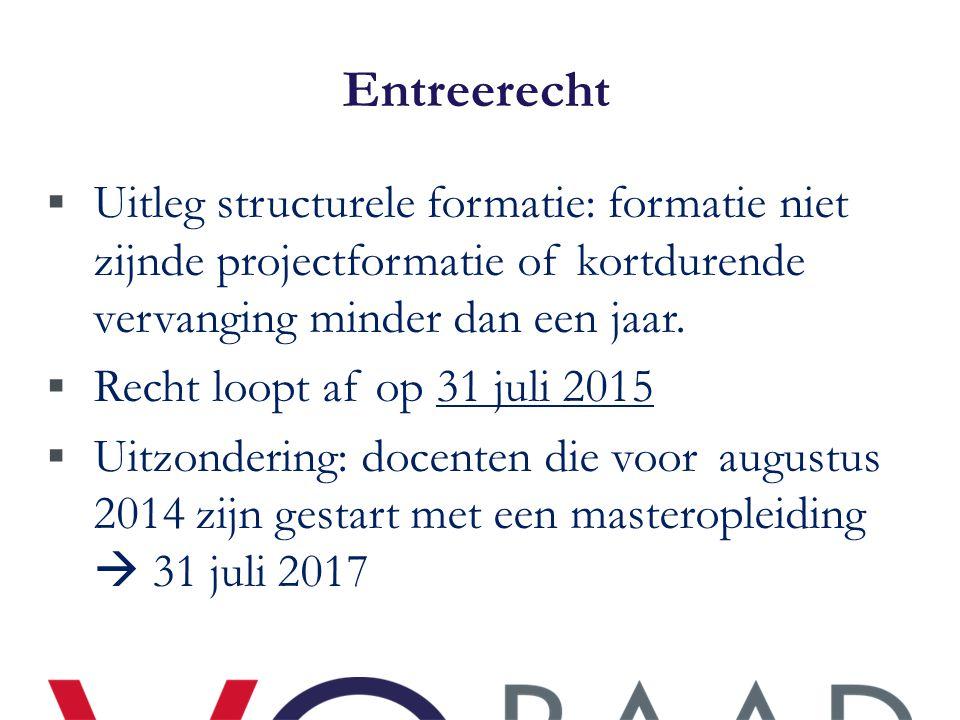 Entreerecht  Uitleg structurele formatie: formatie niet zijnde projectformatie of kortdurende vervanging minder dan een jaar.  Recht loopt af op 31