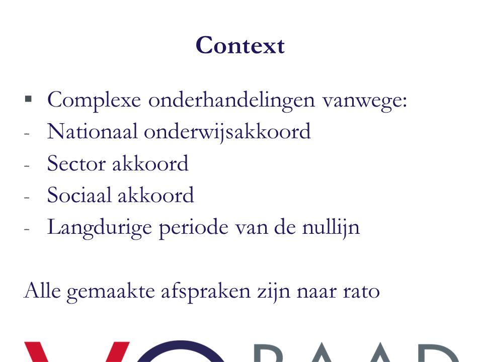 Context  Complexe onderhandelingen vanwege: - Nationaal onderwijsakkoord - Sector akkoord - Sociaal akkoord - Langdurige periode van de nullijn Alle