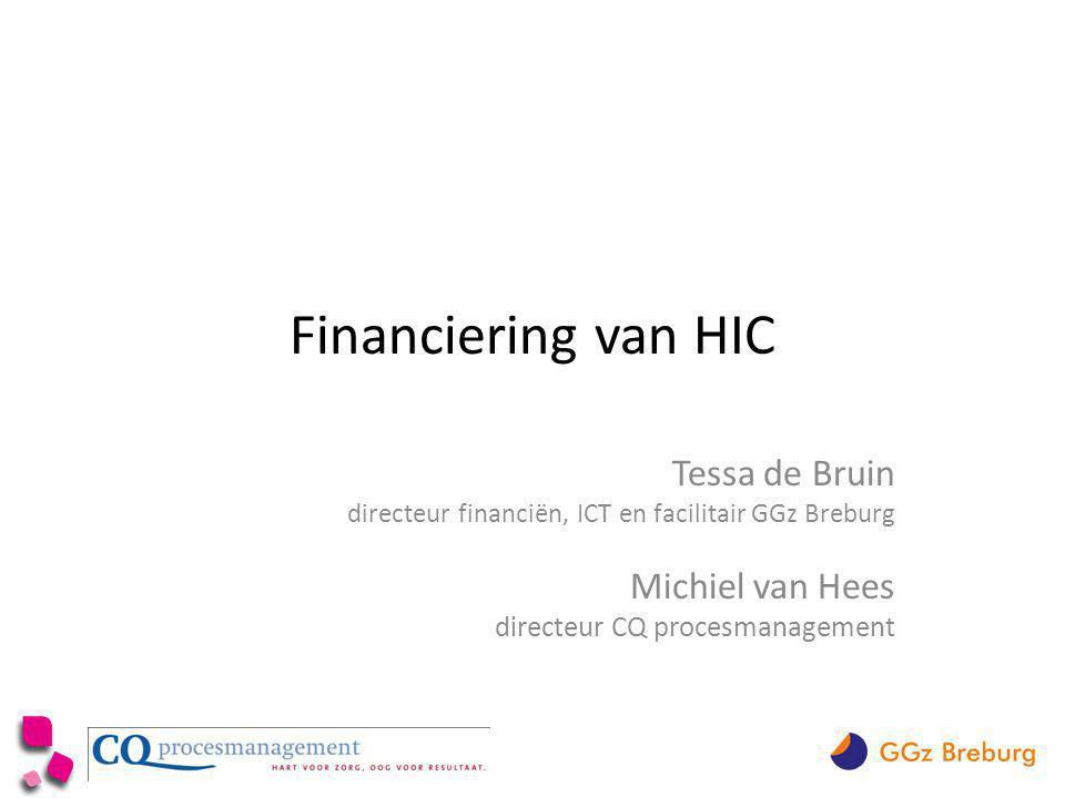 Financiering van HIC Tessa de Bruin directeur financiën, ICT en facilitair GGz Breburg Michiel van Hees directeur CQ procesmanagement