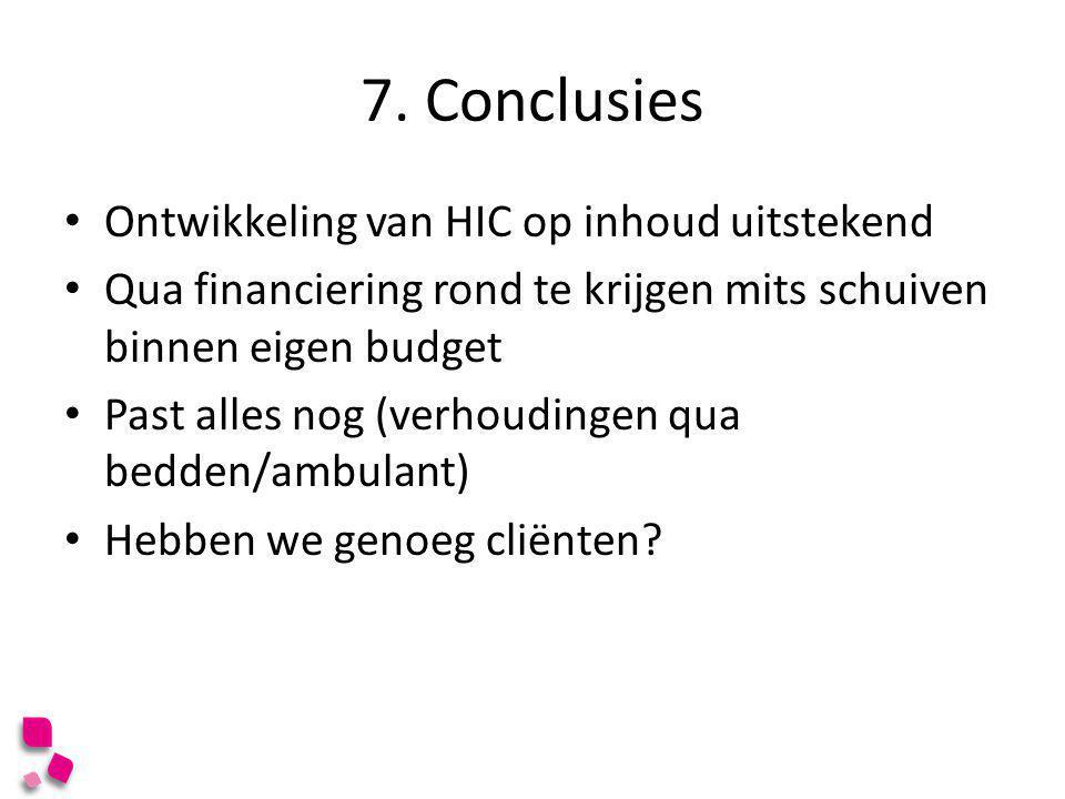 7. Conclusies • Ontwikkeling van HIC op inhoud uitstekend • Qua financiering rond te krijgen mits schuiven binnen eigen budget • Past alles nog (verho
