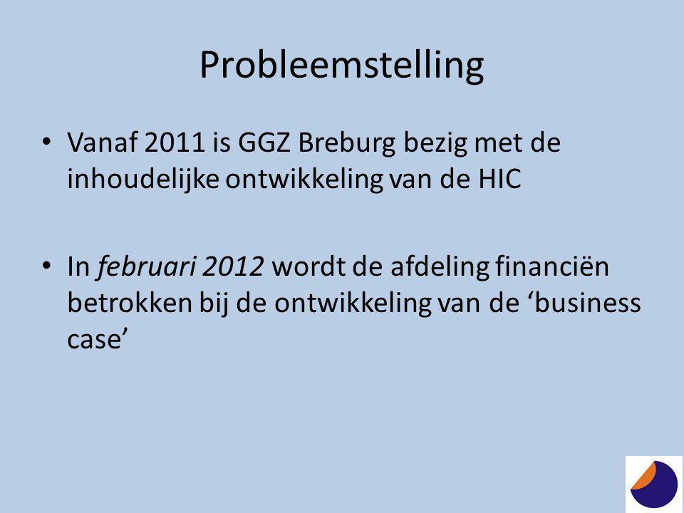 Probleemstelling • Vanaf 2011 is GGZ Breburg bezig met de inhoudelijke ontwikkeling van de HIC • In februari 2012 wordt de afdeling financiën betrokke