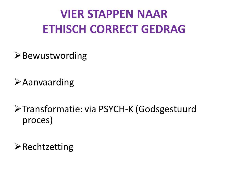 VIER STAPPEN NAAR ETHISCH CORRECT GEDRAG  Bewustwording  Aanvaarding  Transformatie: via PSYCH-K (Godsgestuurd proces)  Rechtzetting