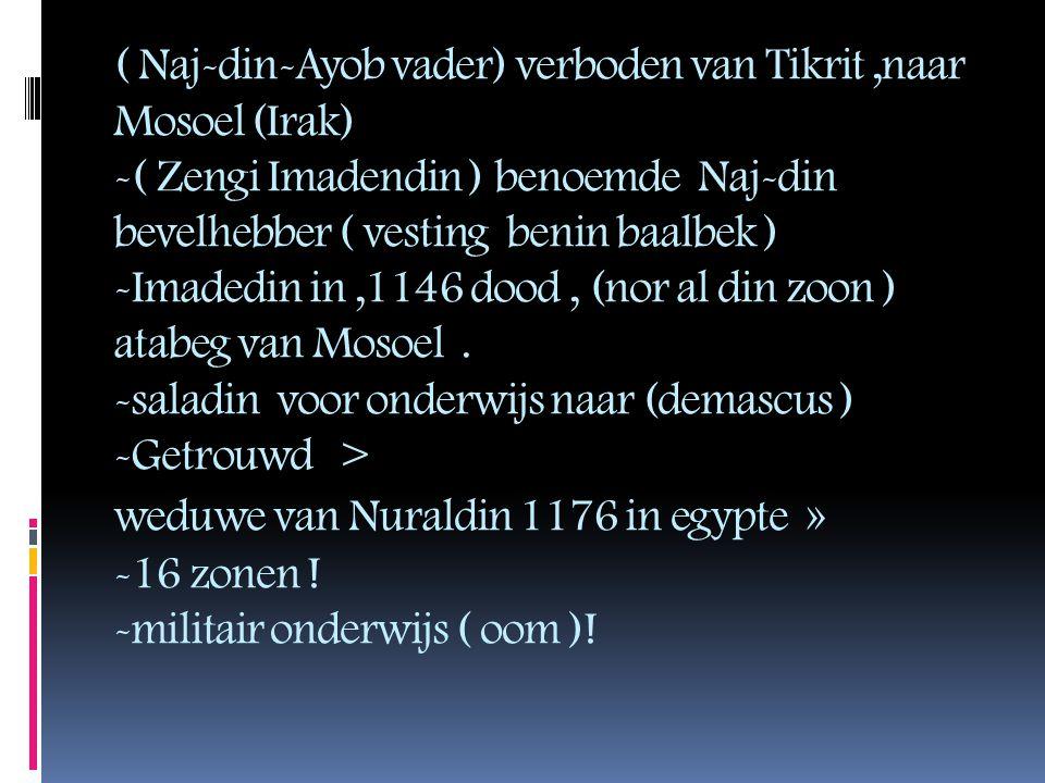 ( Naj-din-Ayob vader) verboden van Tikrit,naar Mosoel (Irak) -( Zengi Imadendin ) benoemde Naj-din bevelhebber ( vesting benin baalbek ) -Imadedin in,1146 dood, (nor al din zoon ) atabeg van Mosoel.