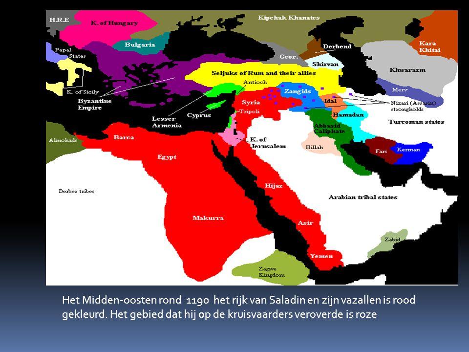 Het Midden-oosten rond 1190 het rijk van Saladin en zijn vazallen is rood gekleurd. Het gebied dat hij op de kruisvaarders veroverde is roze