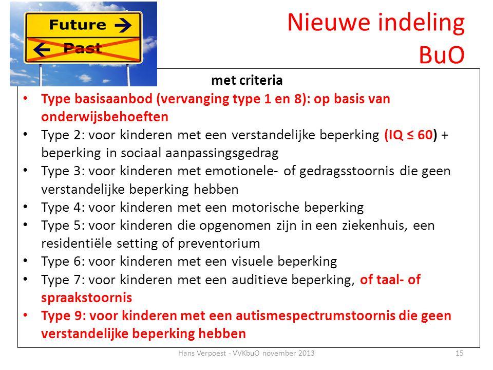 Hans Verpoest - VVKbuO november 201315 met criteria • Type basisaanbod (vervanging type 1 en 8): op basis van onderwijsbehoeften • Type 2: voor kinder