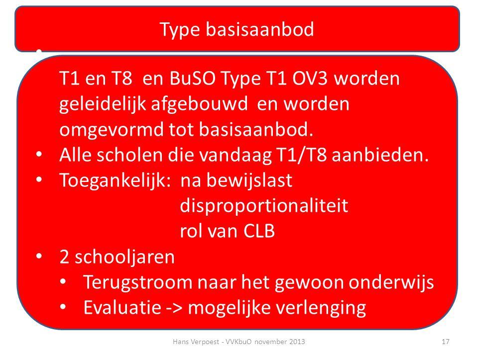 Type basisaanbod • T1 en T8 en BuSO Type T1 OV3 worden geleidelijk afgebouwd en worden omgevormd tot basisaanbod. • Alle scholen die vandaag T1/T8 aan