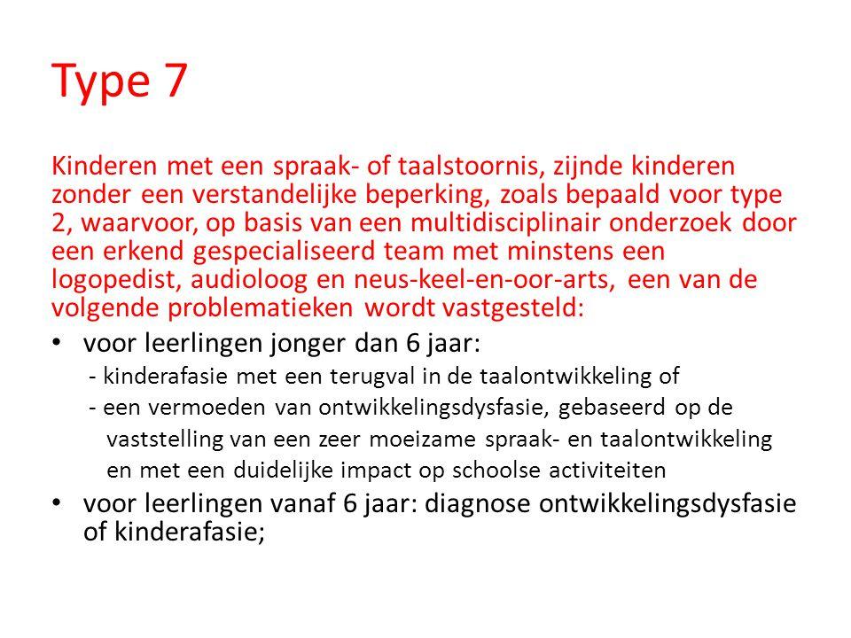 Type 7 Kinderen met een spraak- of taalstoornis, zijnde kinderen zonder een verstandelijke beperking, zoals bepaald voor type 2, waarvoor, op basis va