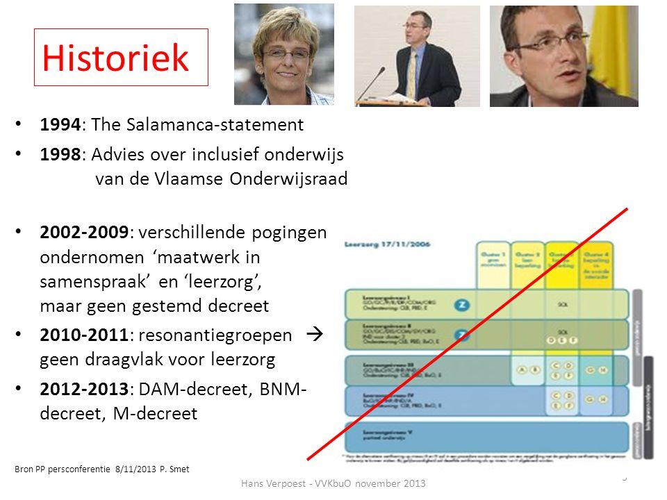 Historiek • 1994: The Salamanca-statement • 1998: Advies over inclusief onderwijs van de Vlaamse Onderwijsraad • 2002-2009: verschillende pogingen ond