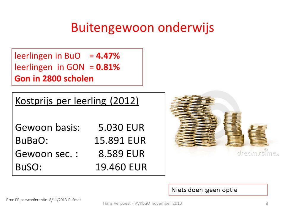 8 leerlingen in BuO = 4.47% leerlingen in GON = 0.81% Gon in 2800 scholen Kostprijs per leerling (2012) Gewoon basis: 5.030 EUR BuBaO: 15.891 EUR Gewo