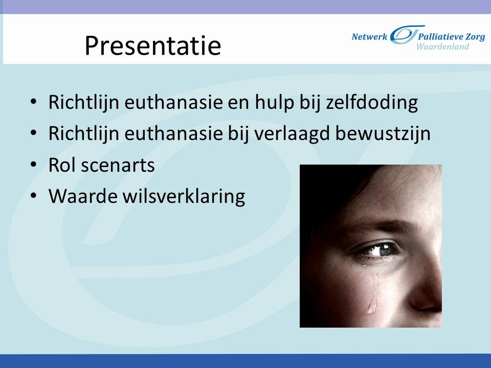 Definitie • Definitie: goede dood (Grieks) In Nederland: het actief beëindigen van het leven van een patiënt of hulp hiervoor verlenen op diens uitdrukkelijk verzoek .