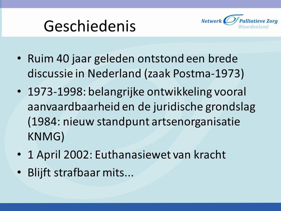 Richtlijn euthanasie en hulp bij zelfdoding Besluitvorming en procedure • Gesprekken arts-patiënt (tijdstip ?) -dit is een groeiproces • Actief aanvragen • Zorgvuldigheidseisen • Scenarts • Dossiervorming -(eigen dossier + modelverslag KNMG) • FARR (Forensich Artsen Rotterdam Rijnmond), regionaal forensisch aanmeldingscentrum • Ambulance personeel/transmuraal team Dordrecht • Apotheker