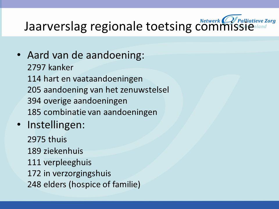 Jaarverslag regionale toetsing commissie • Grote verschillen in regio's: Groningen 373 meldingen Utrecht, overijssel, flevoland 948 meldingen Zuid-Holland en zeeland 804 meldingen • 4 meldingen zijn als onzorgvuldig beoordeeld