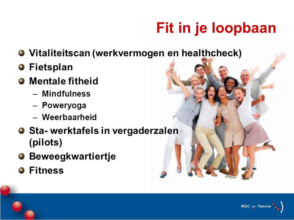 Fit in je loopbaan Vitaliteitscan (werkvermogen en healthcheck) Fietsplan Mentale fitheid –Mindfulness –Poweryoga –Weerbaarheid Sta- werktafels in vergaderzalen (pilots) Beweegkwartiertje Fitness