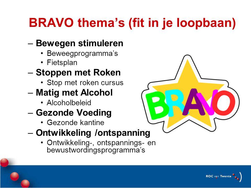 BRAVO thema's (fit in je loopbaan) –Bewegen stimuleren •Beweegprogramma's •Fietsplan –Stoppen met Roken •Stop met roken cursus –Matig met Alcohol •Alcoholbeleid –Gezonde Voeding •Gezonde kantine –Ontwikkeling /ontspanning •Ontwikkeling-, ontspannings- en bewustwordingsprogramma's