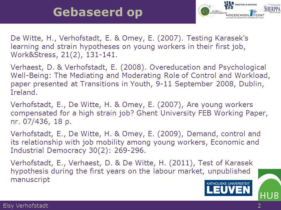 1.Job-demand control model van Karasek 2.Test van de stress en groei hypothesen 3.Gevolgen van stress 4.Blijvende blootstelling aan werkdruk & autonomie 5.Werkdruk en autonomie in de relatie overscholing- arbeidstevredenheid 6.Conclusie Structuur Elsy Verhofstadt 3